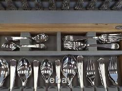 ROBERT WELCH Complete Cutlery Service For 12 90 Pc. Palm Bright With Canteen S97