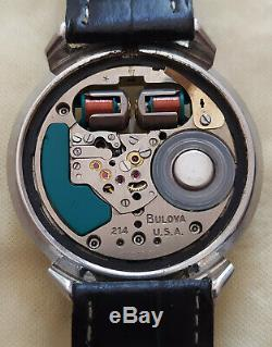 Rare 214 Accutron Bulova Spaceview Turtle Stainless Tuning Fork Men's Watch M4