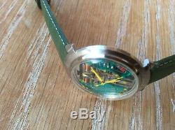 Rare 214 Accutron Spaceview Stainless Steel Tuning Fork Men's Watch M5