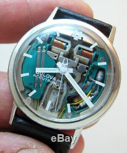 Rare Service Accutron 214 Spaceview Stainless Steel Tuning Fork Men Watch M3