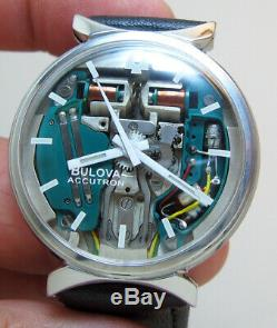 Rare Serviced 214 Accutron Spaceview Stainless Steel Tuning Fork Men's Watch M3