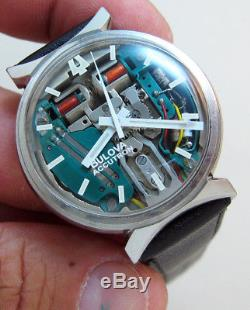 Rare Serviced 214 Accutron Spaceview Stainless Steel Tuning Fork Men's Watch M5