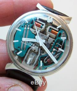 Rare Serviced 214 Accutron Spaceview Stainless Steel Tuning Fork Men's Watch M9