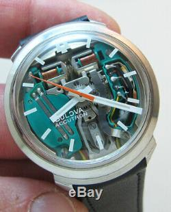 Rare Serviced 214h Accutron Spaceview Stainless Steel Tuning Fork Men's Watch M3