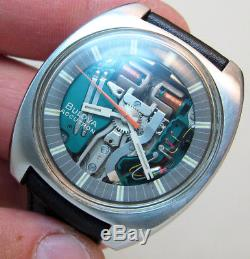 Rare Serviced 214h Accutron Spaceview Stainless Steel Tuning Fork Men's Watch M9