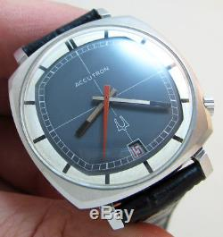 Rare Serviced 2181 Tv Accutron Stainless Steel Tuning Fork Mens Watch N1