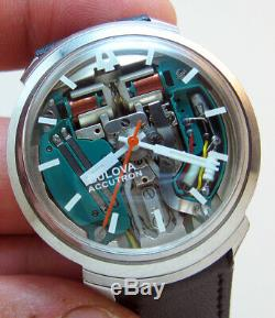 Rare Serviced Accutron 214 Bulova Spaceview Stainless Steel Tuning Fork Watch M5