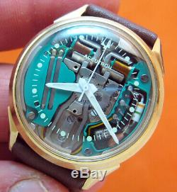 Rare Serviced Accutron 214 Spaceview 10kt. Gold Filled Tuning Fork Watch M5