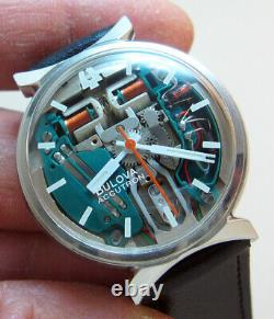 Rare Serviced Accutron 214 Spaceview Stainless Steel Tuning Fork Man's Watch M7