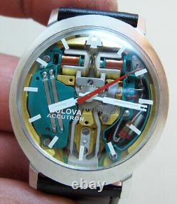 Rare Serviced Accutron 214 Spaceview Stainless Steel Tuning Fork Man's Watch N1