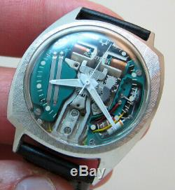 Rare Serviced Accutron 214 Spaceview Stainless Steel Tuning Fork Men Watch M4