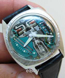 Rare Serviced Accutron 214 Spaceview Stainless Steel Tuning Fork Men Watch M5