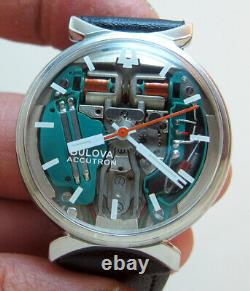 Rare Serviced Accutron 214 Spaceview Stainless Steel Tuning Fork Men Watch M7