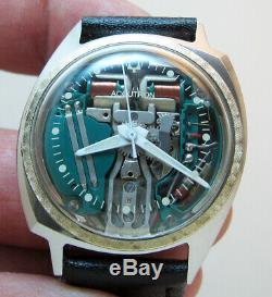 Rare Serviced Accutron 214 Spaceview Stainless Steel Tuning Fork Men Watch M8