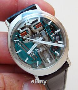 Rare Serviced Accutron 214 Spaceview Stainless Steel Tuning Fork Men Watch N1