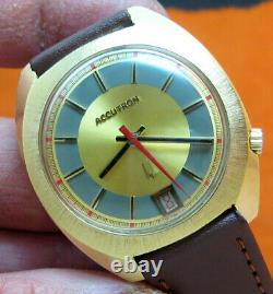 Rare Serviced Accutron 2181 Bulova Gold Electroplate Tuning Fork Men's Watch N3