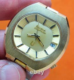 Rare Serviced Accutron 2181 Bulova Gold Electroplate Tuning Fork Men's Watch N4