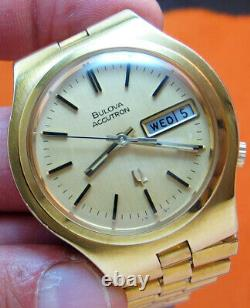Rare Serviced Accutron 2182 Bulova Gold Electroplate Tuning Fork Men's Watch N3