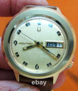 Rare Serviced Accutron 2182 Bulova Gold Electroplate Tuning Fork Men's Watch N6
