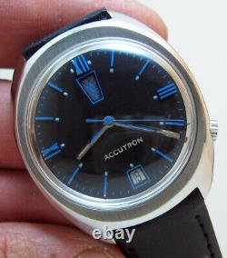 Rare Serviced Accutron 2182 Bulova Stainless Steel Tuning Fork Men's Watch M9