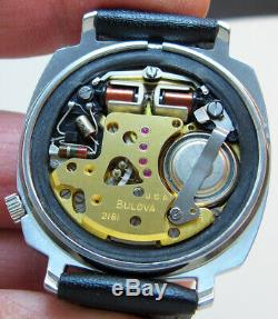 Rare Serviced Bulova Accutron 2181 Stainless Steel Tuning Fork Men Watch N3