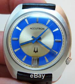 Rare Serviced Bulova Accutron 2181 Stainless Steel Tuning Fork Men's Watch N1