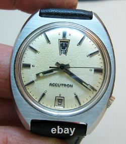 Rare Serviced Bulova Accutron 2182 Stainless Steel Tuning Fork Men Watch N0