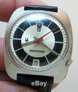 Rare Serviced Bulova Accutron 2182 Stainless Steel Tuning Fork Men Watch N1