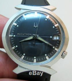 Rare Serviced Bulova Accutron 218d Stainless Steel Tuning Fork Men's Watch M7