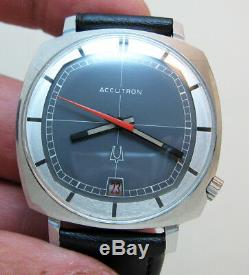 Rare Serviced Tv 2181 Accutron Bulova Stainless Steel Tuning Fork Men Watch N0