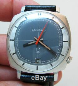 Rare Serviced Vintage 2181 Tv Accutron Stainless Steel Tuning Fork Men Watch N0