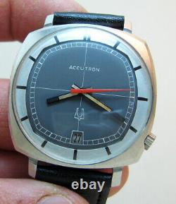 Rare Tv Serviced 2181 Accutron Bulova Stainless Steel Tuning Fork Men's Watch N1