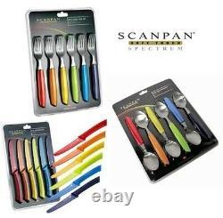 SCANPAN Soft Touch Spectrum 18 Piece Steak Knife, Fork & Table Spoon Cutlery Set