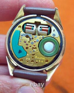 SERVICED 214H ACCUTRON RAILROAD 10KT. GOLD FILLED TUNING FORK MEN's WATCH M9