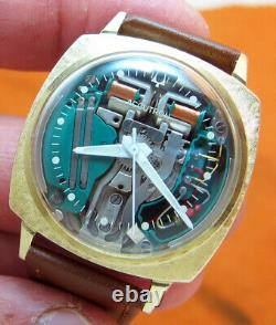 SERVICED 214H ACCUTRON SPACEVIEW 10KT. GOLD FILLED TUNING FORK MEN's WATCH M9