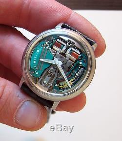 Serviced 214 Accutron Spaceview Stainless Steel Tuning Fork Mens Watch M3