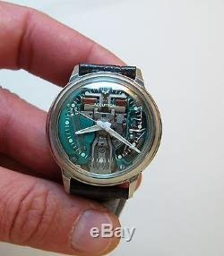 Serviced 214 Accutron Spaceview Stainless Steel Tuning Fork Mens Watch M8