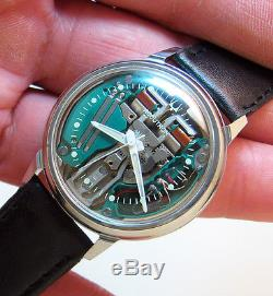 Serviced 214 Accutron Spaceview Stainless Steel Tuning Fork Men's Watch M4