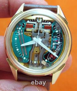 SERVICED ACCUTRON 214H SPACEVIEW 10KT. GOLD FILLED TUNING FORK MEN's WATCH M9
