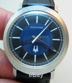 SERVICED ACCUTRON 214 BULOVA STAINLESS STEEL TUNING FORK MENs WATCH N0