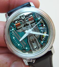 SERVICED ACCUTRON 214 SPACEVIEW STAINLESS STEEL TUNING FORK MENs WATCH M6