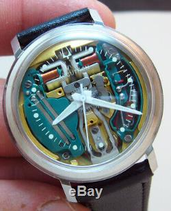 SERVICED ACCUTRON 214 SPACEVIEW STAINLESS STEEL TUNING FORK MENs WATCH N1