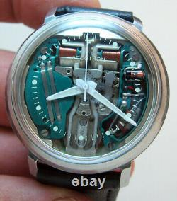 SERVICED ACCUTRON 214 SPACEVIEW STAINLESS STEEL TUNING FORK MENs WATCH N3