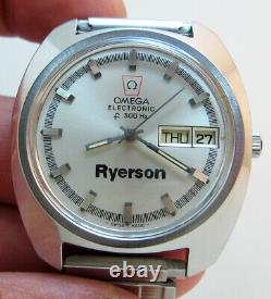 SERVICED OMEGA ELECTRONIC F300 STAINLESS STEEL TUNING FORK MEN's WATCH