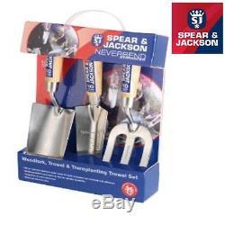 SPEAR & JACKSON NEVERBEND STAINLESS STEEL 3pc TRANSPLANTING TROWEL FORK 3056GS