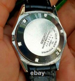 Seiko Elnix 0703-7070 Pink Dial Mens Vintage June 1974 Japan Tuning Fork Watch