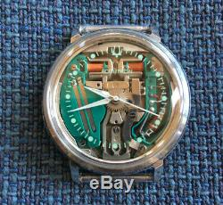 Serviced 214 ACCUTRON Spaceview Stainless Tuning Fork Men's Watch M6 Bulova LOOK