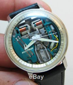 Serviced 214 Accutron Bulova Spaceview Stainless Steel Tuning Fork Men's Watc M5
