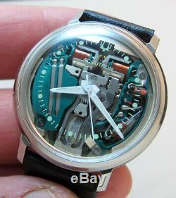 Serviced 214h Accutron Spaceview Stainless Steel Tuning Fork Men's Watch M6