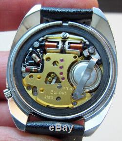 Serviced 2180 Accutron Bulova Stainless Steel Tuning Fork Men's Watch